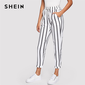 SHEIN Black and White Casual Drawstring Waist Striped High Waist Tapered Carrot Pants Summer Women Going Out Trousers 1180